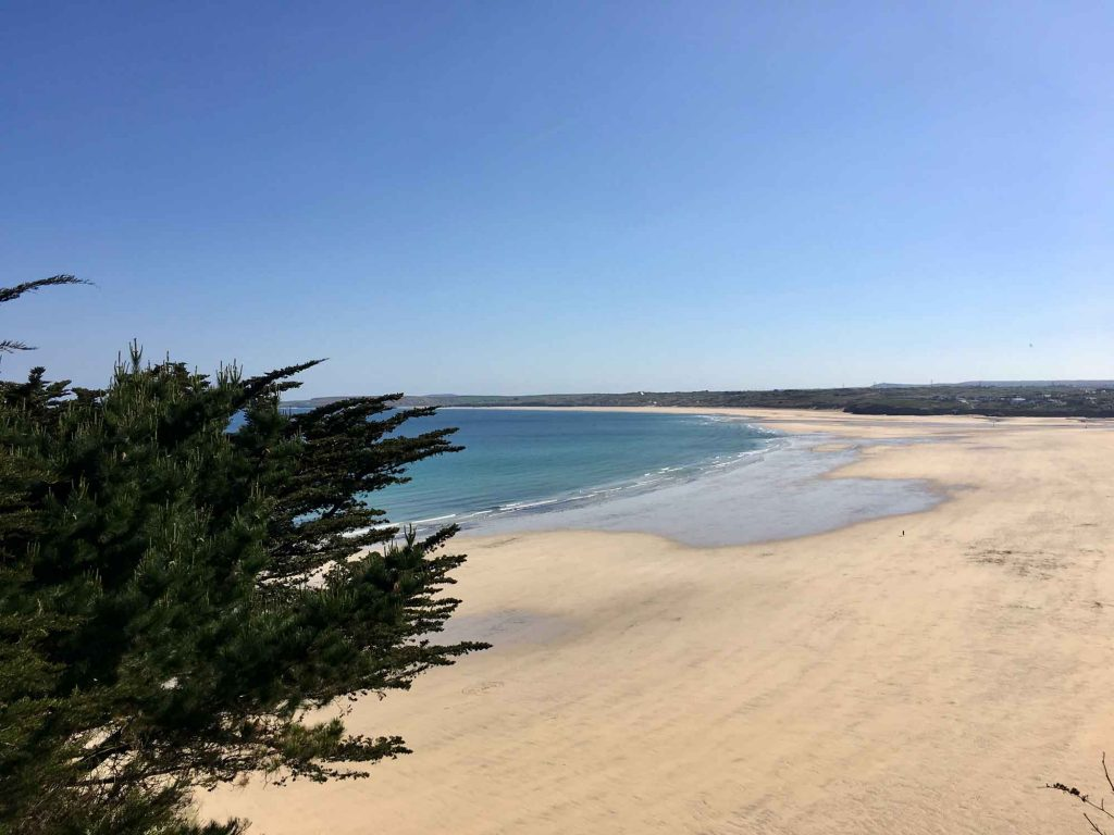 Porthkidney Beach in St Ives from Hawkes Point