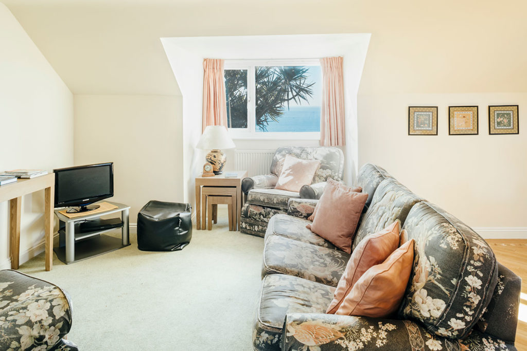 Living area in Mylor with sea views