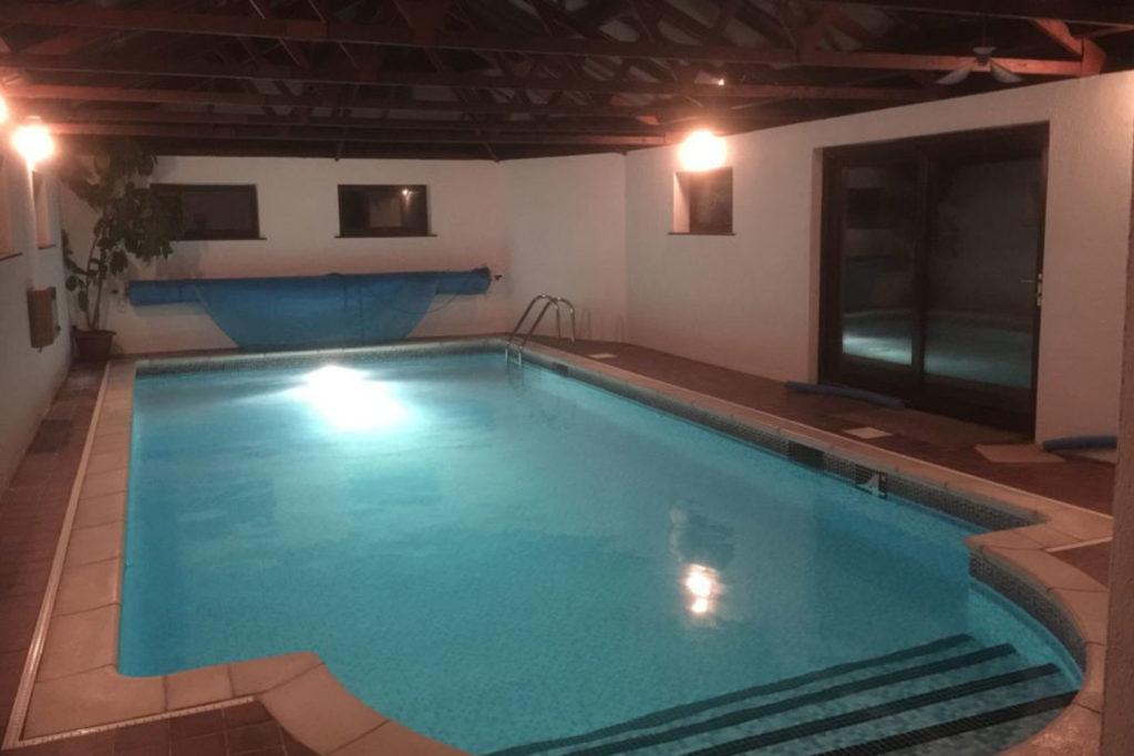 Turn O'Tide indoor swimming pool at night