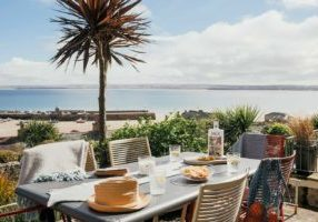Sea view from the garden terrace of 6 Barnoon Terrace, St Ives